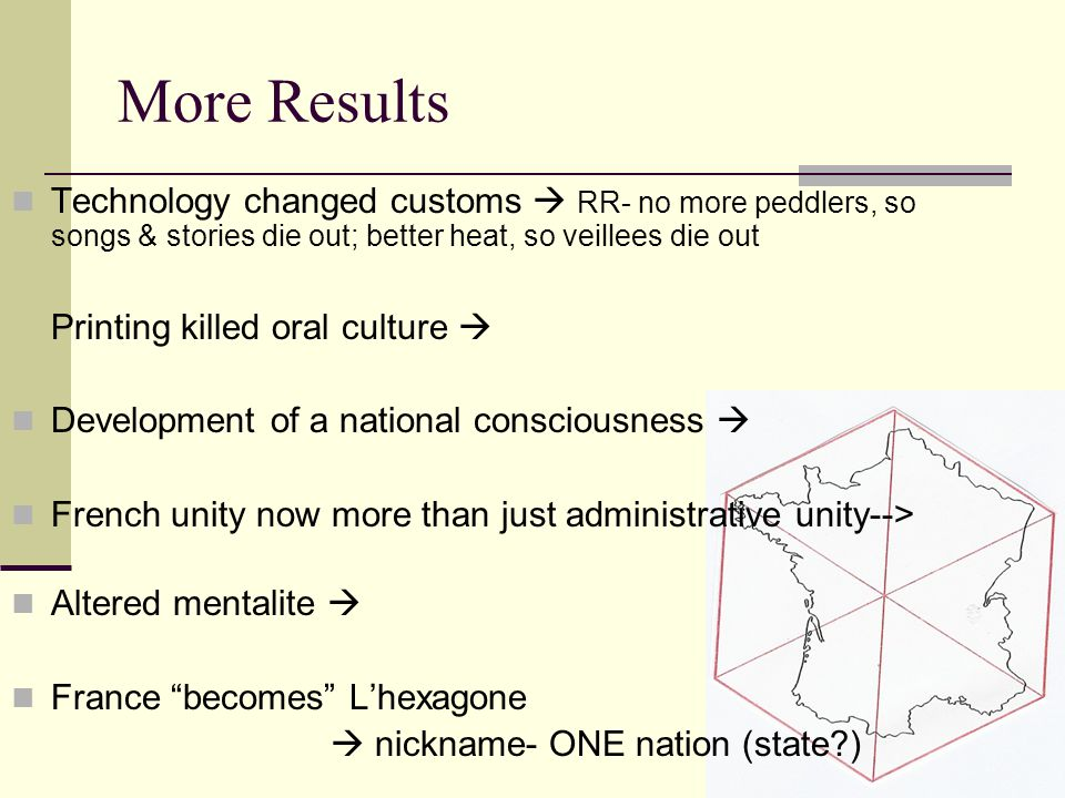 More Results Technology changed customs  RR- no more peddlers, so songs & stories die out; better heat, so veillees die out.