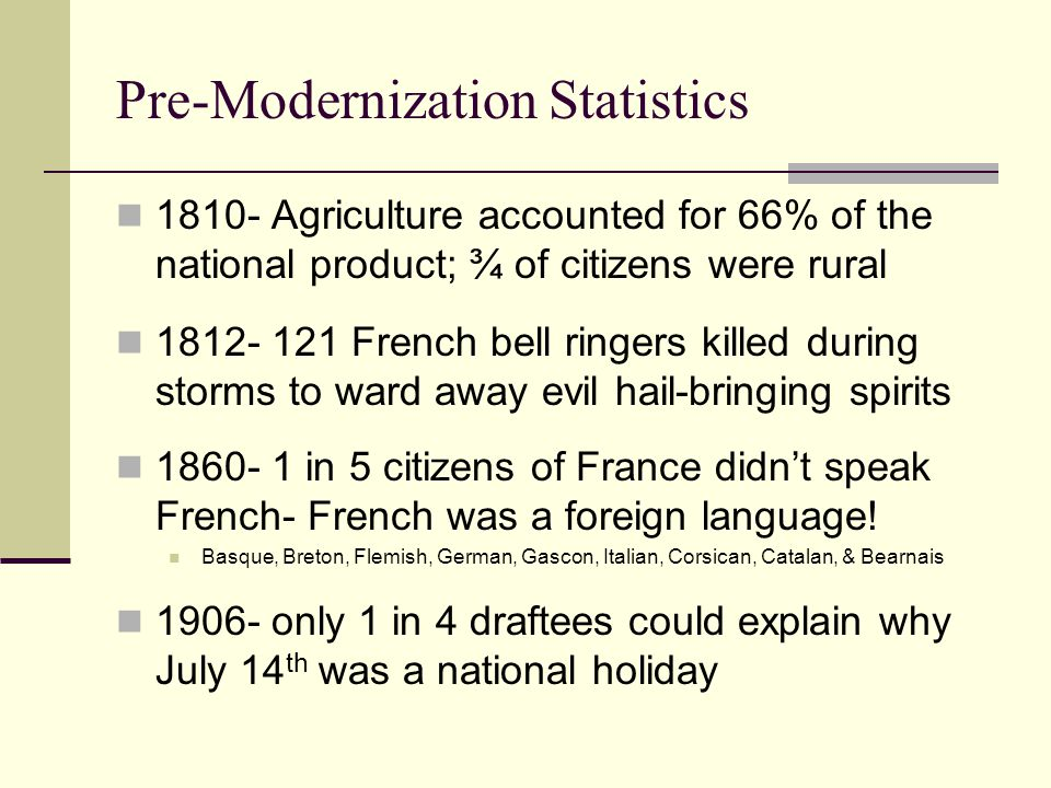 Pre-Modernization Statistics