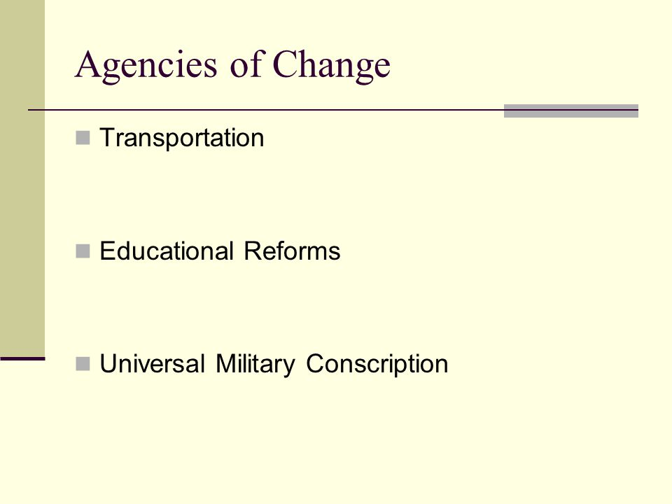Agencies of Change Transportation Educational Reforms