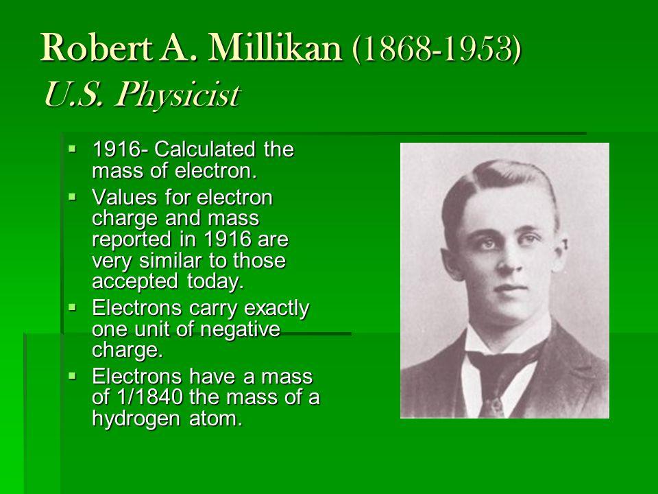 Robert A. Millikan (1868-1953) U.S. Physicist