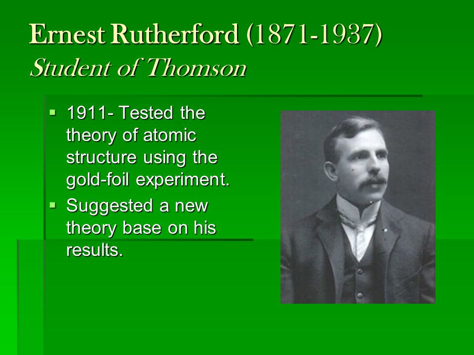 Ernest Rutherford (1871-1937) Student of Thomson