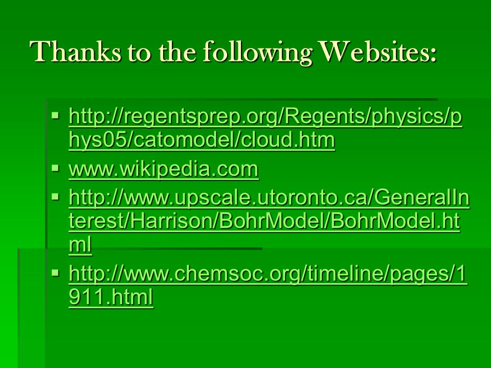 Thanks to the following Websites: