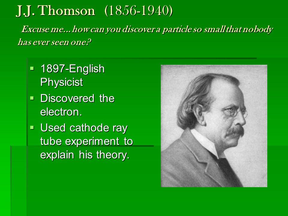 J. J. Thomson. (1856-1940) Excuse me