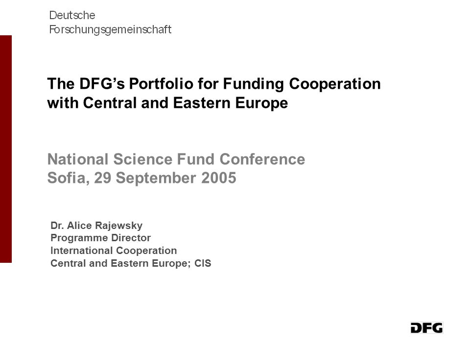 National Science Fund Conference Sofia, 29 September 2005
