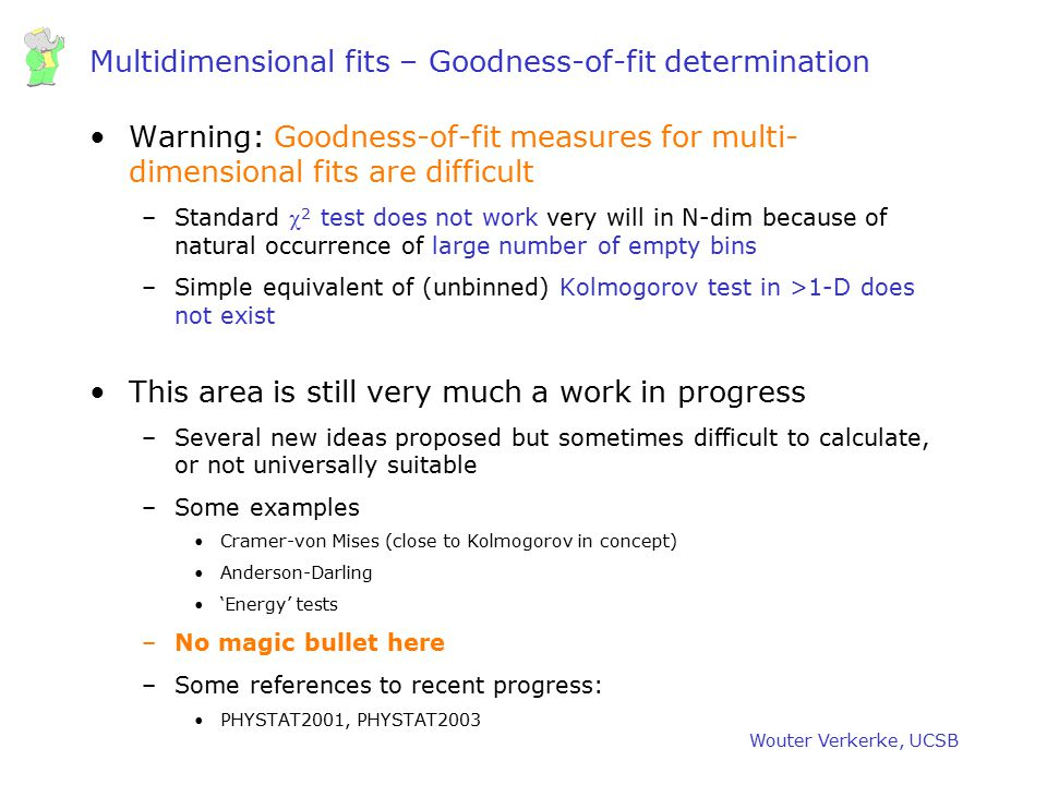 Multidimensional fits – Goodness-of-fit determination