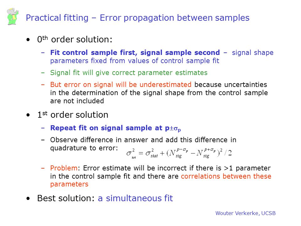Practical fitting – Error propagation between samples