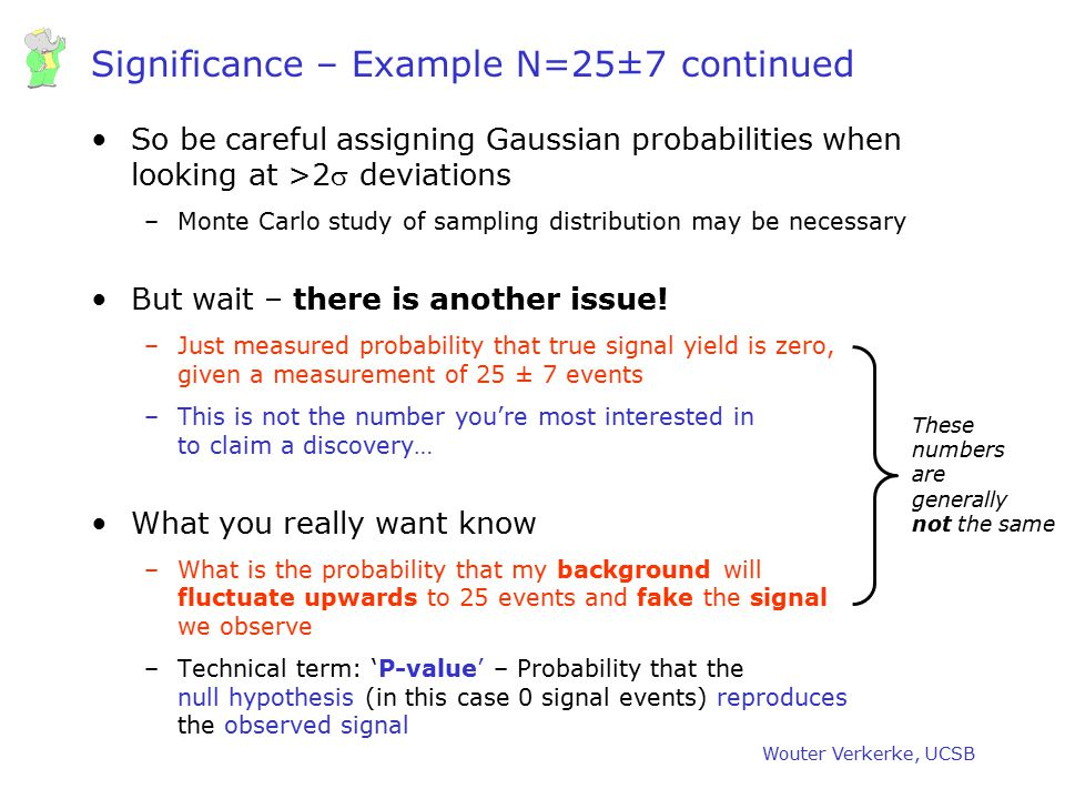 Significance – Example N=25±7 continued