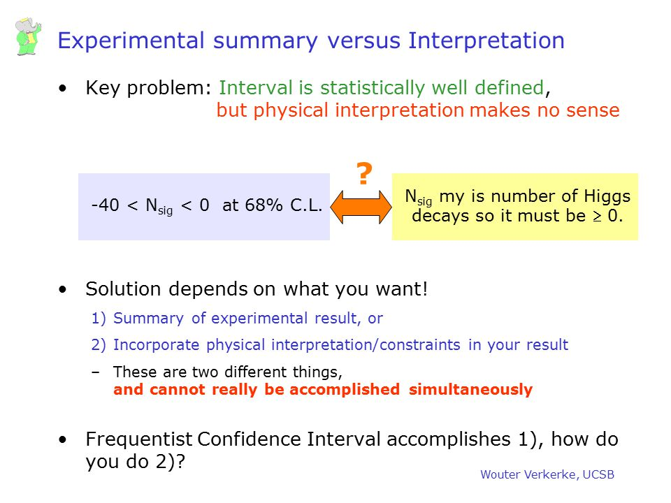 Experimental summary versus Interpretation
