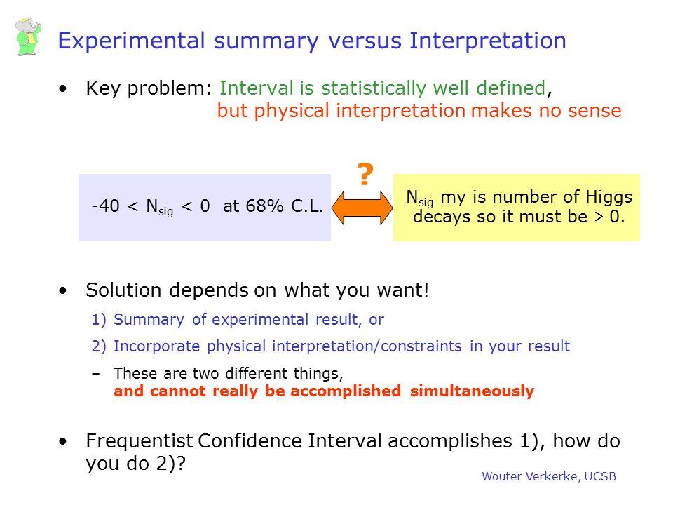 Experimental summary versus Interpretation