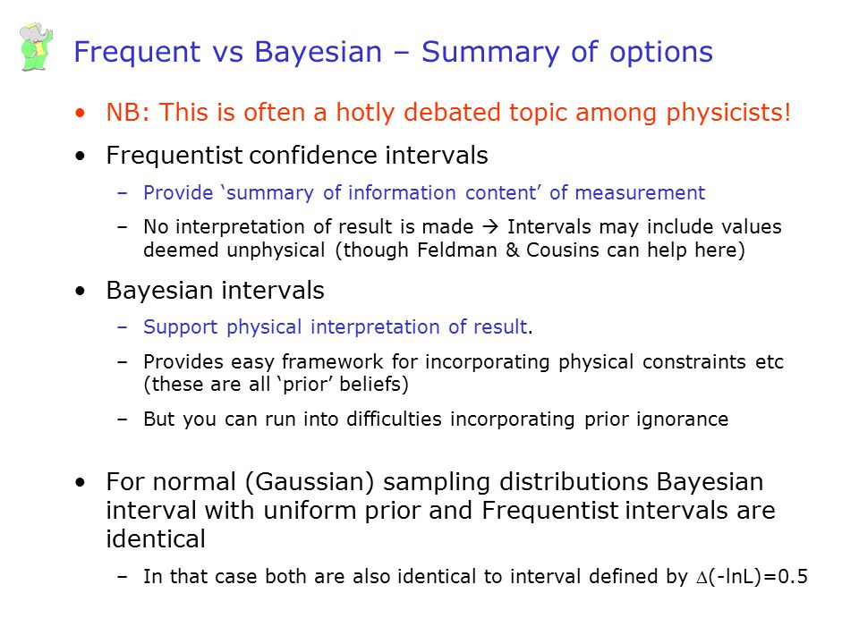 Frequent vs Bayesian – Summary of options