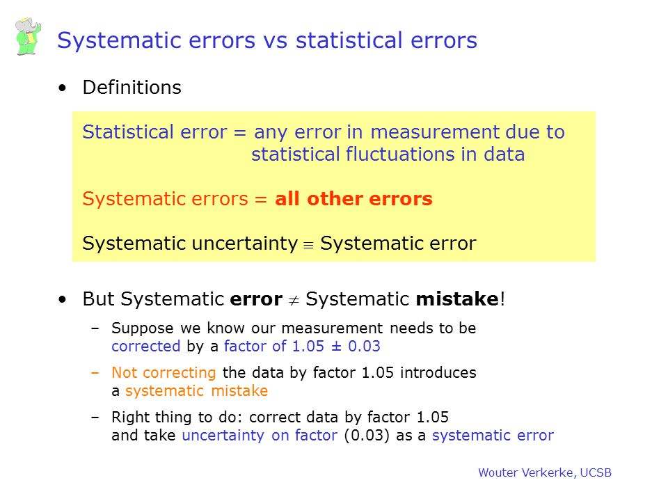 Systematic errors vs statistical errors