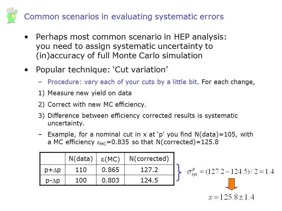 Common scenarios in evaluating systematic errors