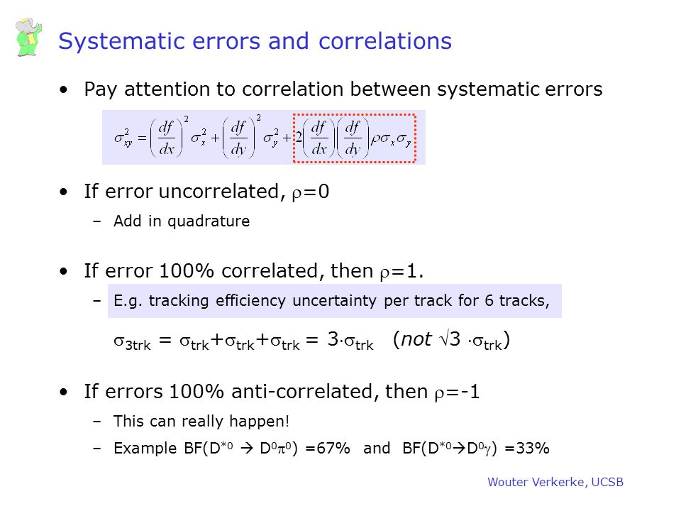 Systematic errors and correlations