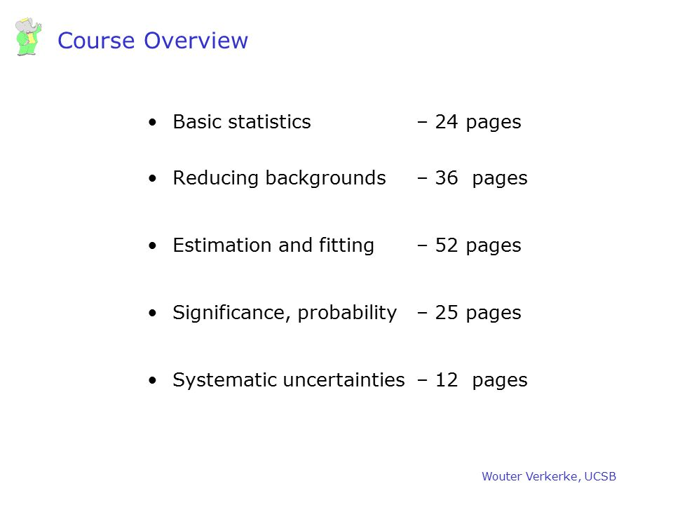 Course Overview Basic statistics – 24 pages