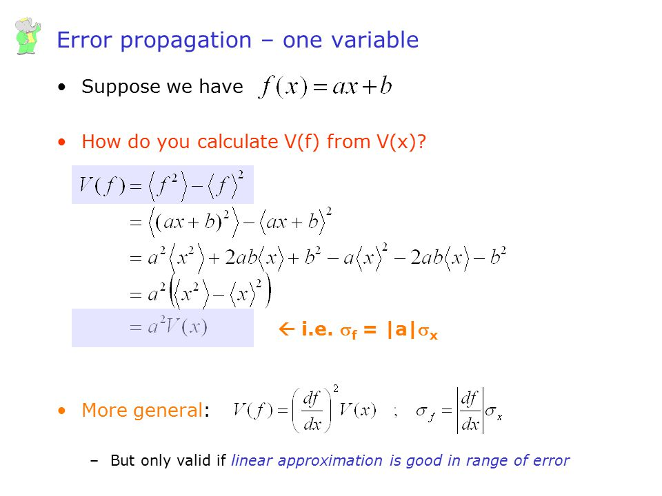 Error propagation – one variable