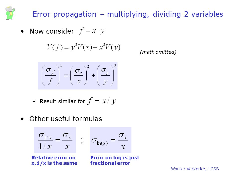 Error propagation – multiplying, dividing 2 variables