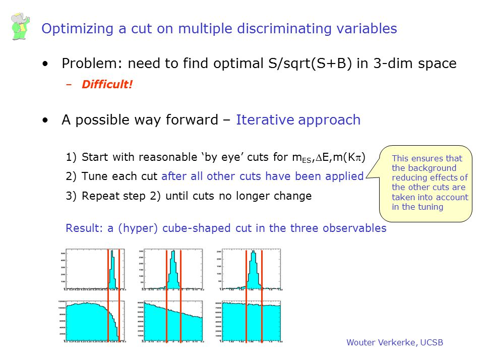 Optimizing a cut on multiple discriminating variables