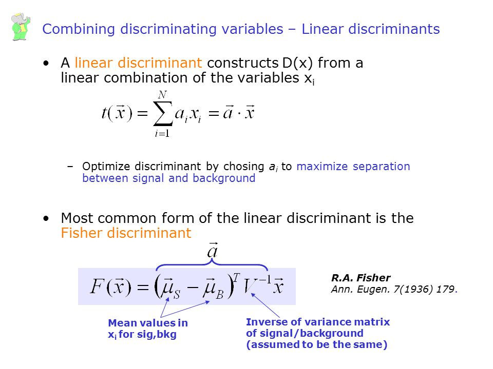 Combining discriminating variables – Linear discriminants