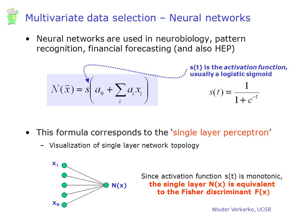 Multivariate data selection – Neural networks