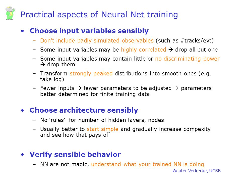 Practical aspects of Neural Net training