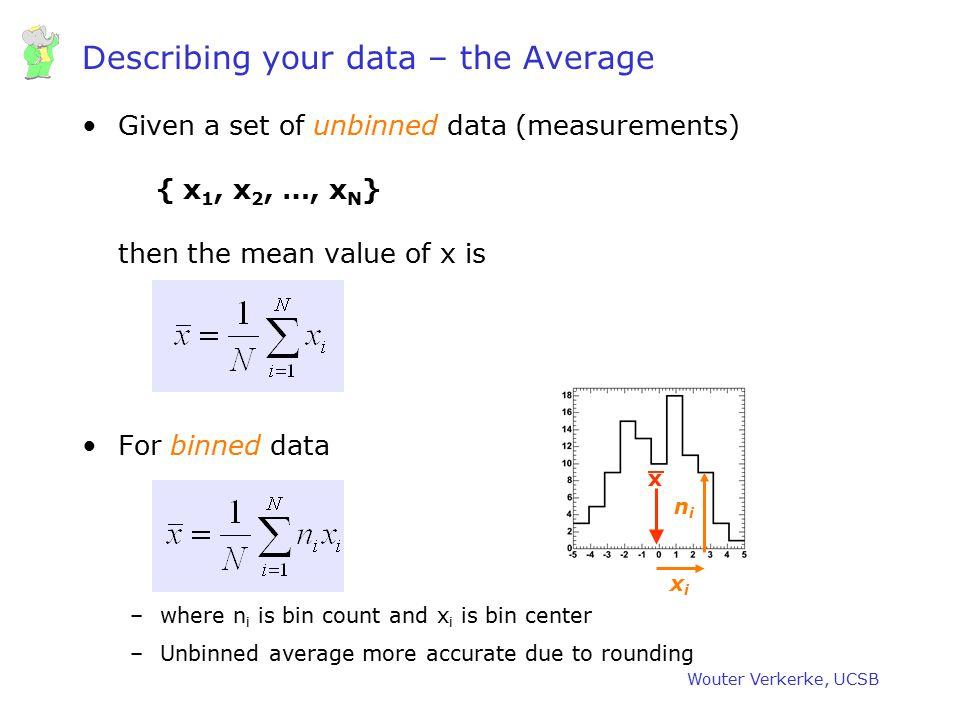 Describing your data – the Average