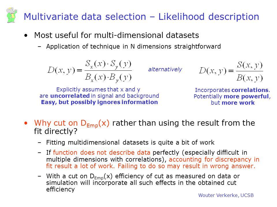 Multivariate data selection – Likelihood description