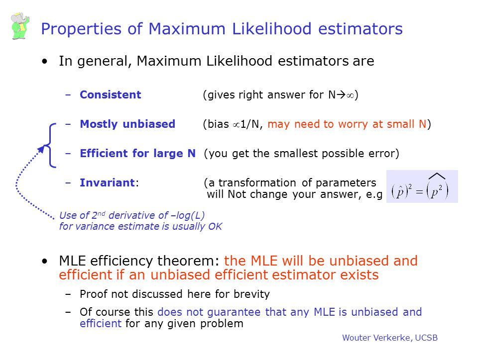 Properties of Maximum Likelihood estimators