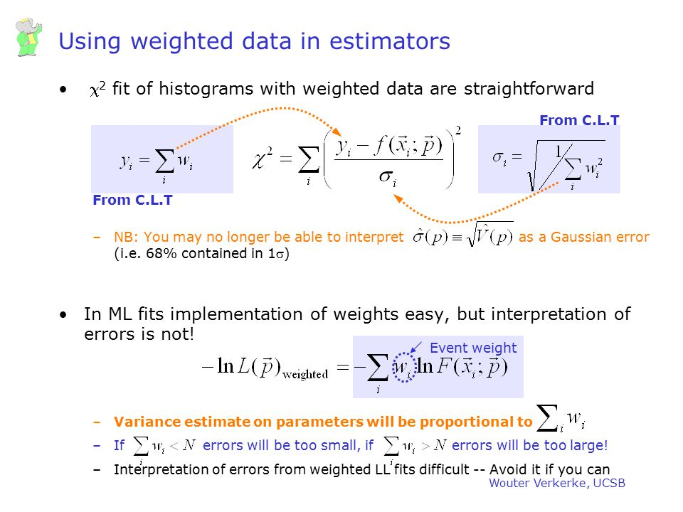 Using weighted data in estimators