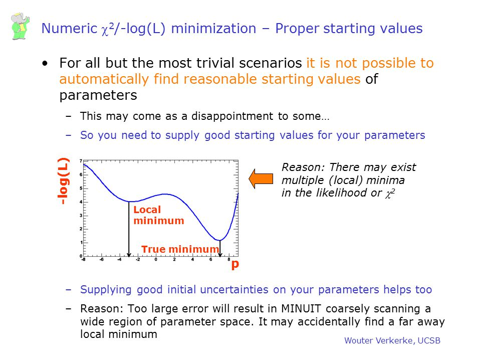 Numeric c2/-log(L) minimization – Proper starting values