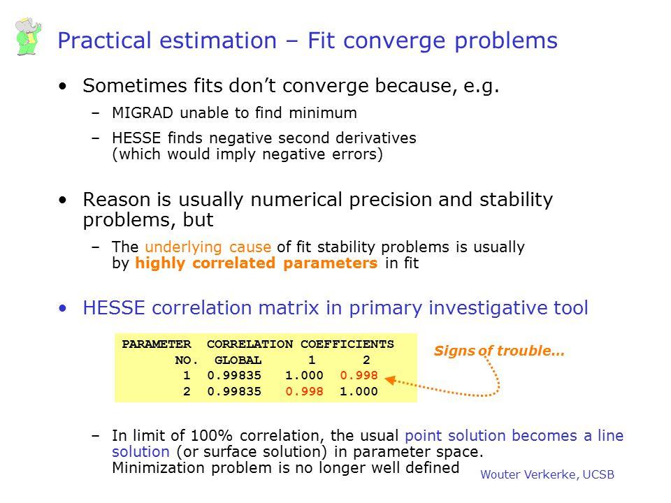 Practical estimation – Fit converge problems