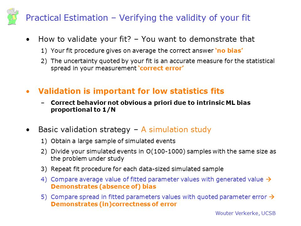 Practical Estimation – Verifying the validity of your fit