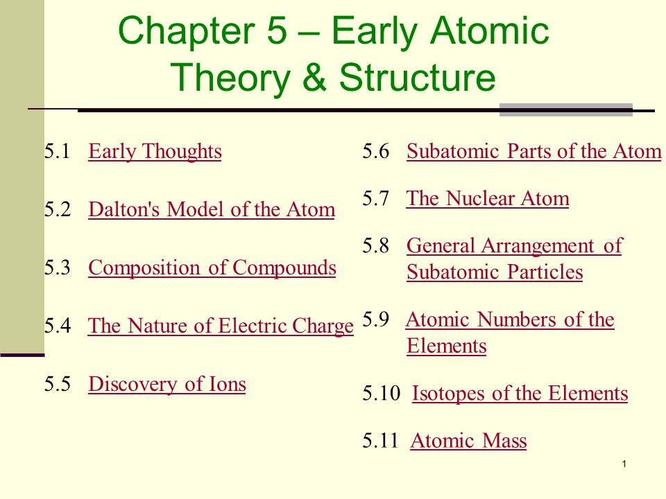 Chapter 5 – Early Atomic Theory & Structure