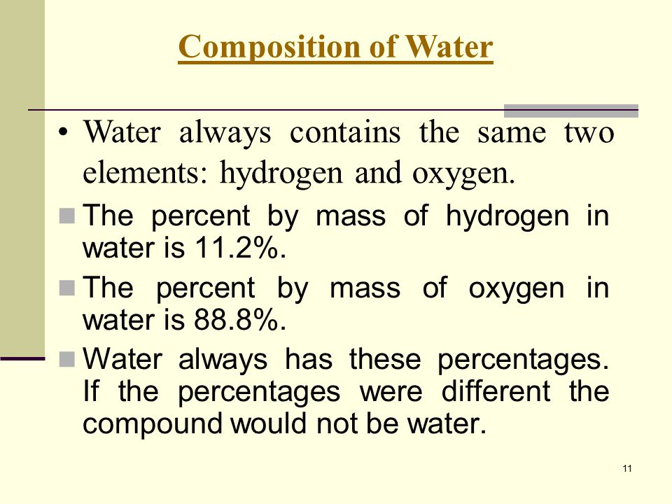 Water always contains the same two elements: hydrogen and oxygen.
