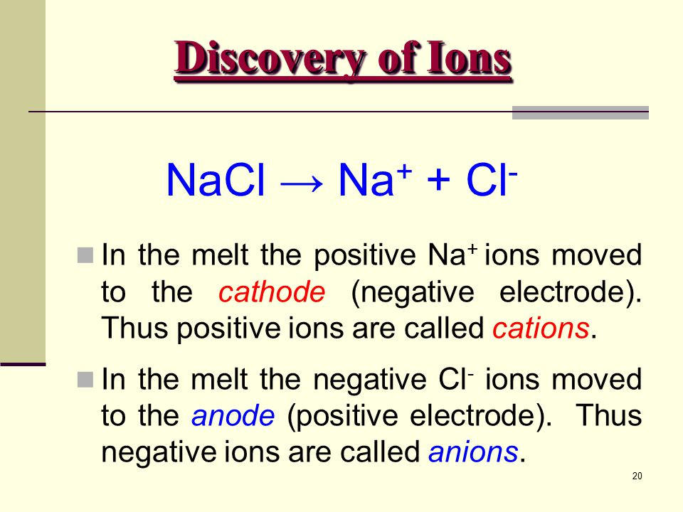 Discovery of Ions NaCl → Na+ + Cl-