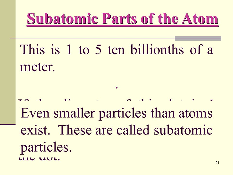 The diameter of an atom is 0.1 to 0.5 nm.