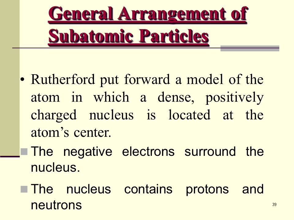 General Arrangement of Subatomic Particles