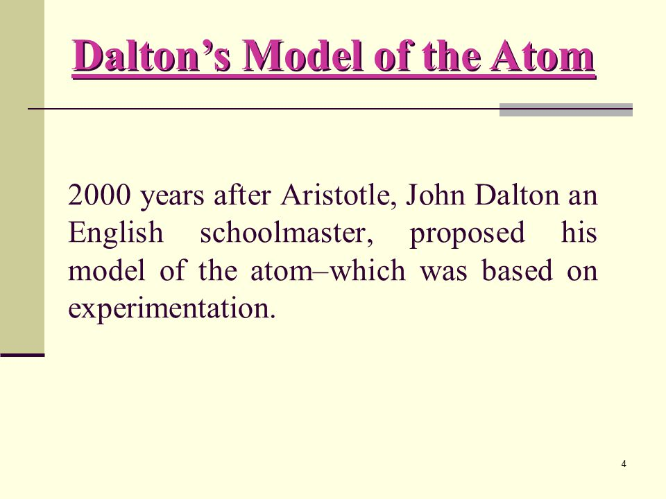 Dalton's Model of the Atom