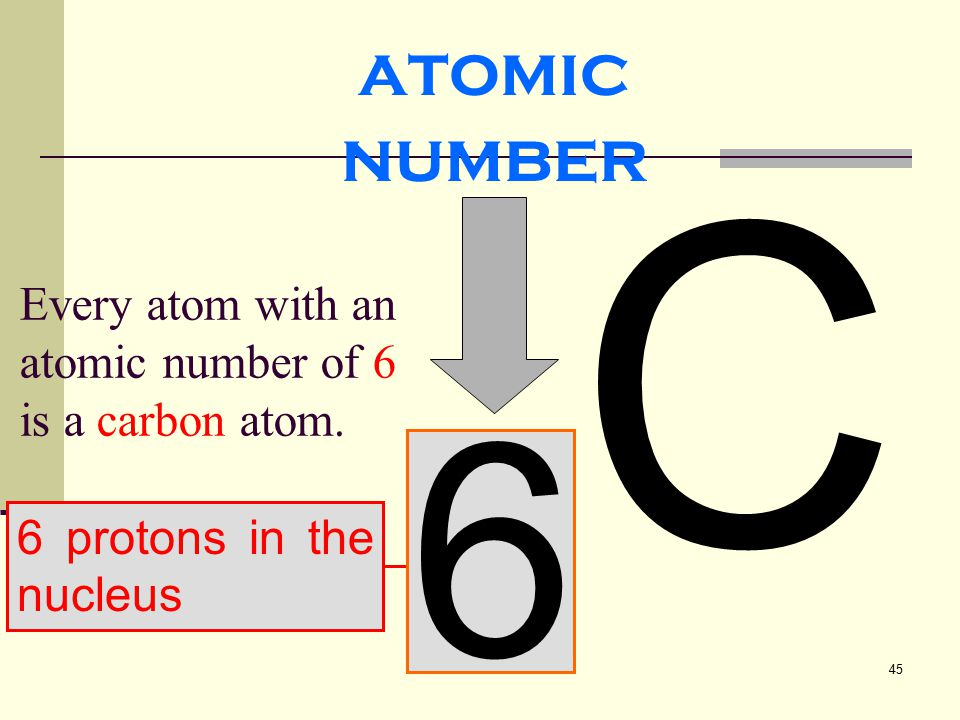 atomic number 6C Every atom with an atomic number of 6 is a carbon atom. 6 protons in the nucleus
