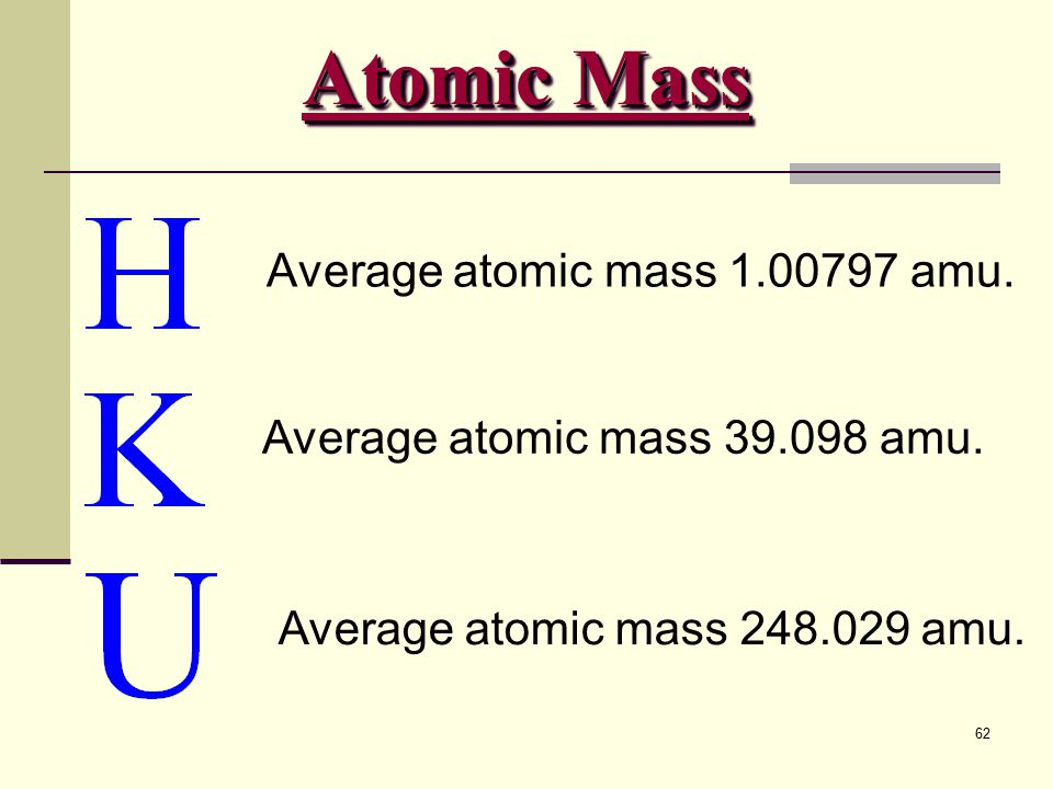 Atomic Mass Average atomic mass 1.00797 amu.