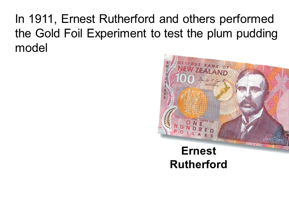 In 1911, Ernest Rutherford and others performed the Gold Foil Experiment to test the plum pudding model