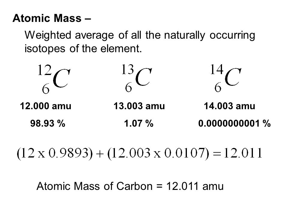 Atomic Mass of Carbon = 12.011 amu