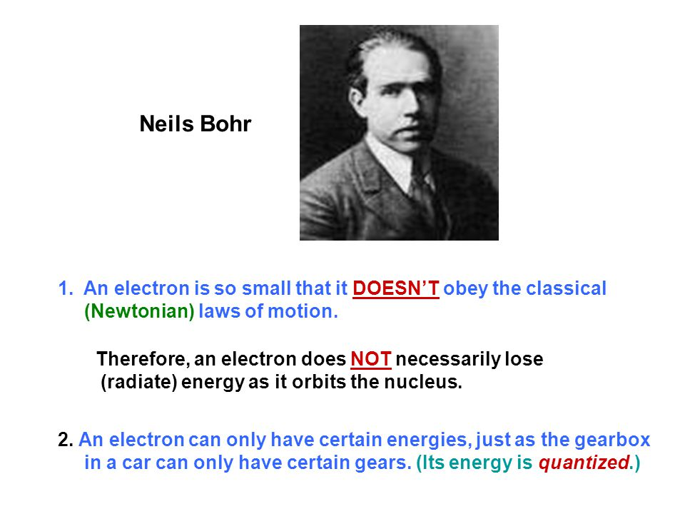 Neils Bohr An electron is so small that it DOESN'T obey the classical