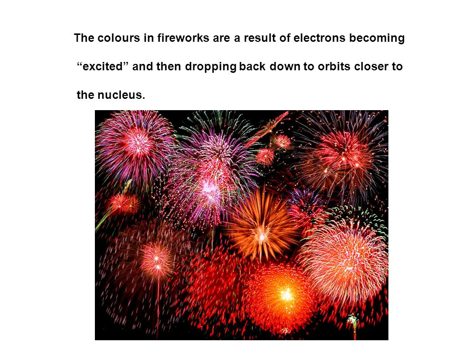 The colours in fireworks are a result of electrons becoming