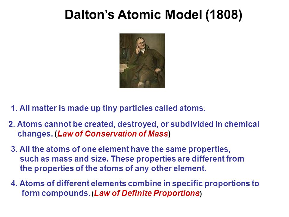 1. All matter is made up tiny particles called atoms.