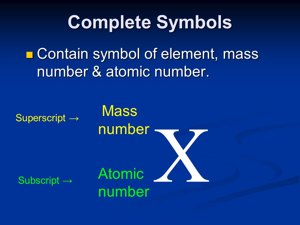 Complete Symbols Contain symbol of element, mass number & atomic number. Mass. number. X. Superscript →