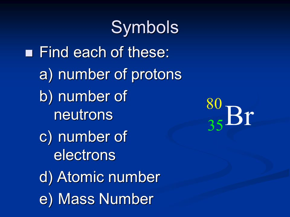 Br Symbols 80 35 Find each of these: number of protons