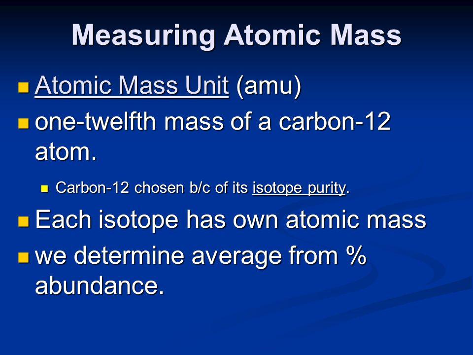 Measuring Atomic Mass Atomic Mass Unit (amu)