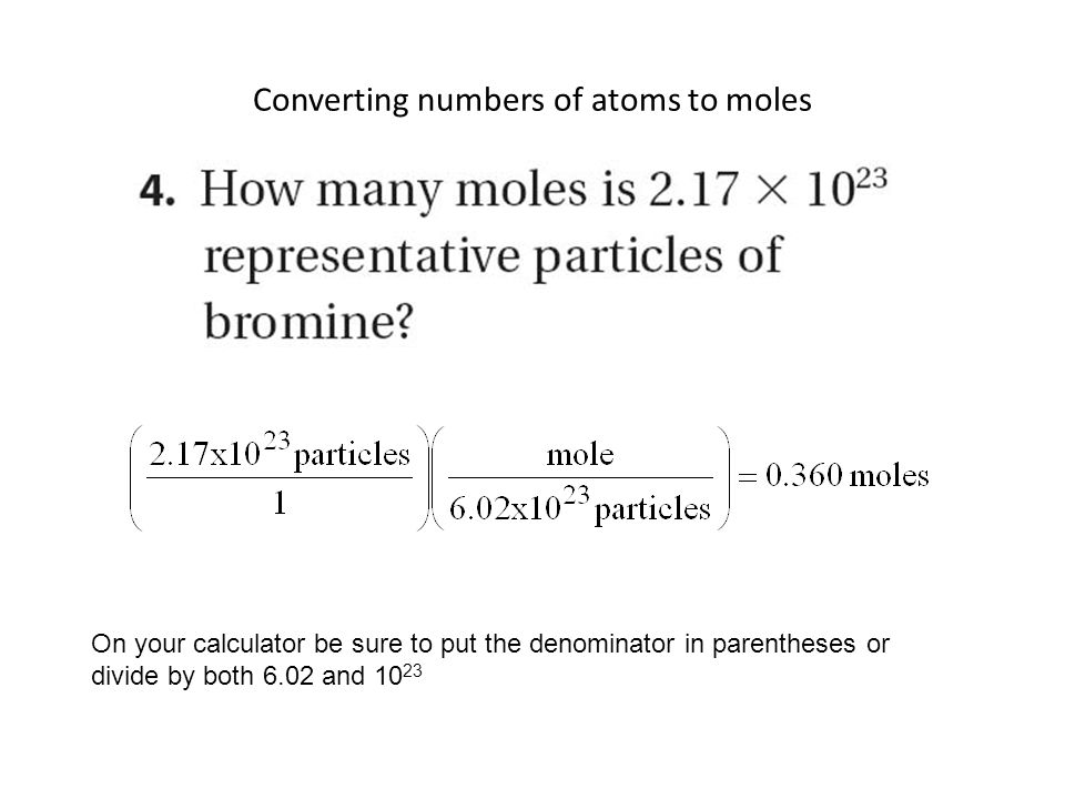 Converting numbers of atoms to moles