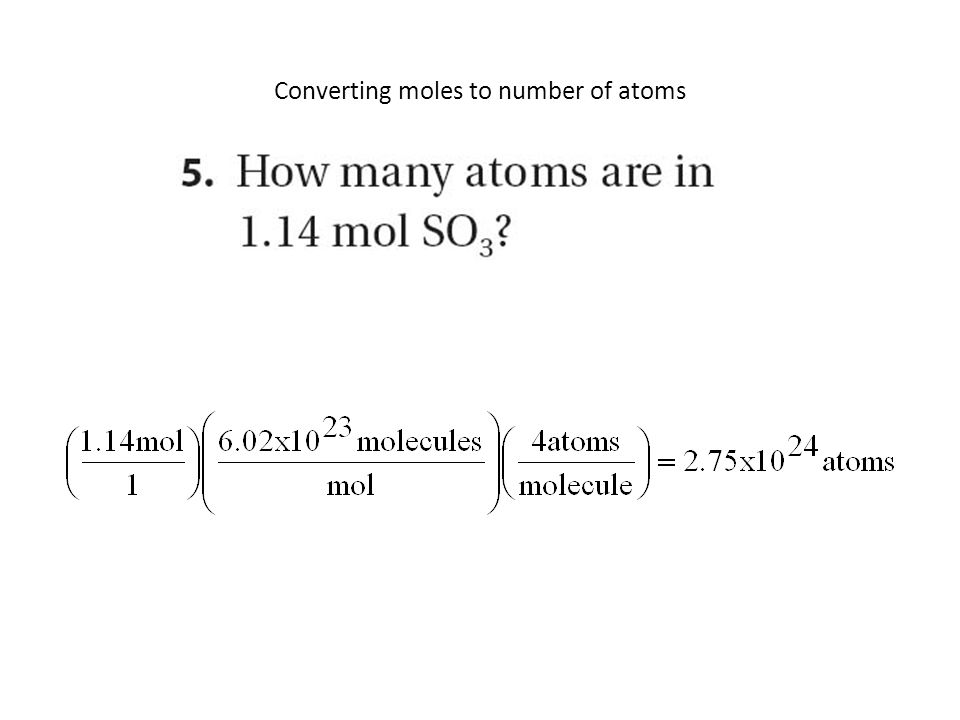 Converting moles to number of atoms