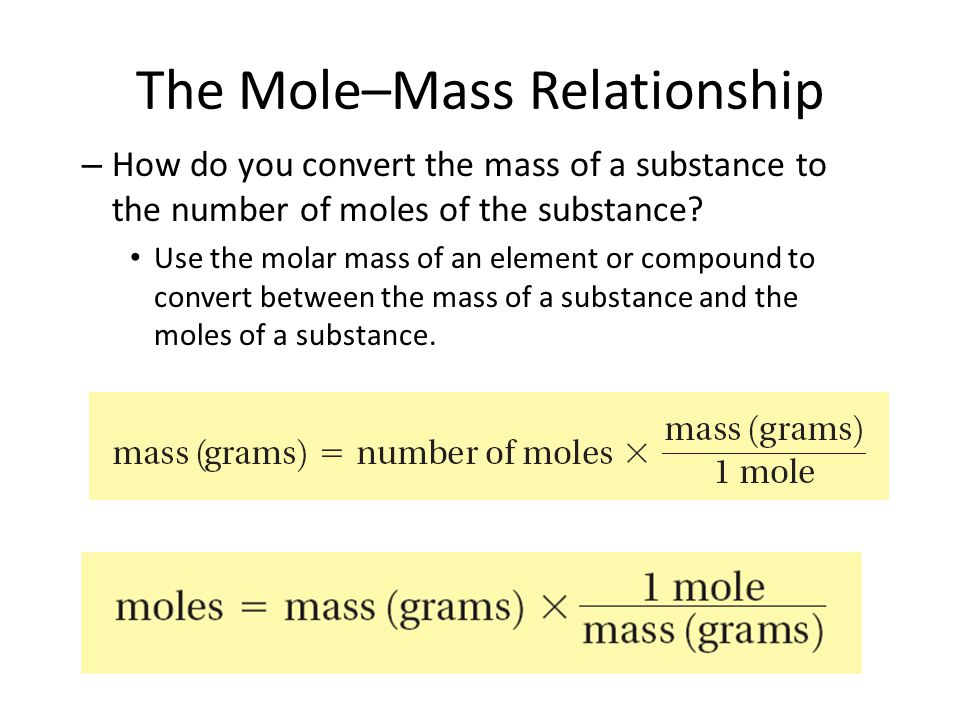 The Mole–Mass Relationship